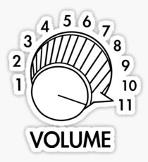 Volume Knob Up To 11 Spinal Tap Inspired Funny Guitar T-Shirt Sticker