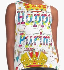Happy Purim, happy, Purim, blessed, blest, blissful, blithe, cheerful Contrast Tank