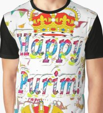 Happy Purim, happy, Purim, blessed, blest, blissful, blithe, cheerful Graphic T-Shirt