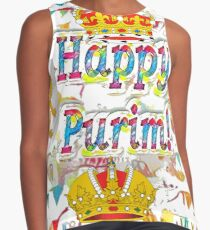 Happy Purim, happy, Purim, blessed, blest, blissful, blithe Contrast Tank