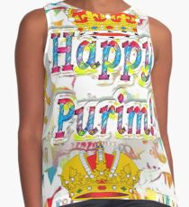 Happy Purim, happy, Purim, blessed, blest, blissful, blithe, Cartoon Contrast Tank