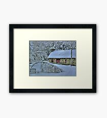 Stone House After Snowstorm Framed Print