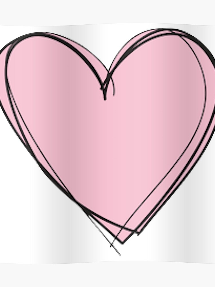 Pink Drawing Heart | Poster