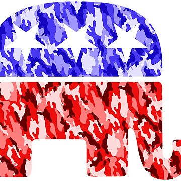 GOP Camo Republican Elephant Stickers, T Shirts, and More by itswillharris