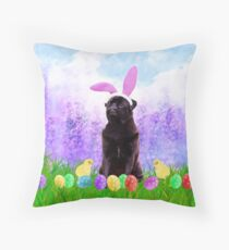 Cute Pug Dog with Easter Eggs Chics Throw Pillow