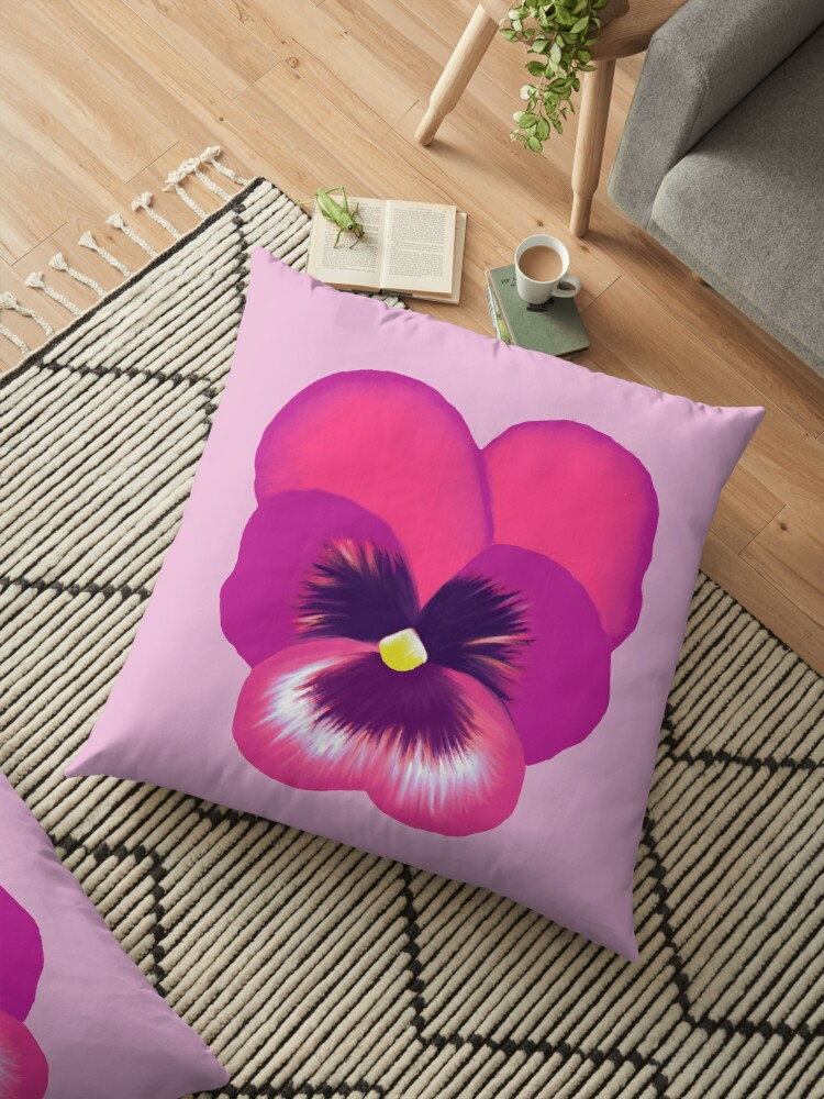 Single hot pink pansy flower floor pillows by emma fifield redbubble single hot pink pansy flower by emma fifield mightylinksfo