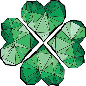 Green geometrical clover leaf by cheeckymonkey