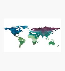 Watercolor illustration of world map. Photographic Print