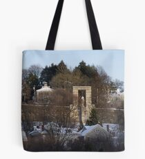 Roger Williams looks over the city of Providence Tote Bag