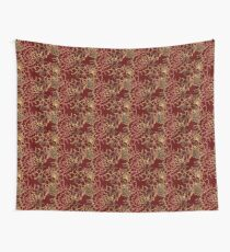 burgundy with gold flowers Wall Tapestry