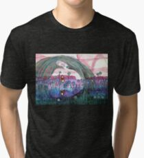 Girl in a Field of Blue Flowers- Drawing Tri-blend T-Shirt