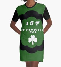 My First St. Patrick's Day Outfit - Girls St. Patrick's Outfit - My First St. Patrick's Day - Headband  Graphic T-Shirt Dress