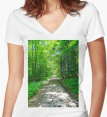 Mystical Forest Walk On Famous Goldsteig Trail Women's Fitted V-Neck T-Shirt
