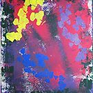 Colorful Retro 80s Splatter Painting With Hearts by Express Yourself Artshop