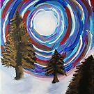 Polar Vortex - Colorful Winter Landscape Northern Lights by Express Yourself Artshop