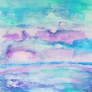 Abstract Watercolor Seascape in Turquoise and Purple by Express Yourself Artshop