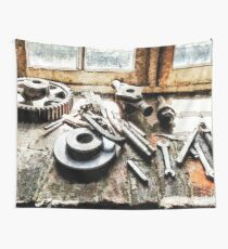 Gears and Wrenches in Machine Shop Wall Tapestry