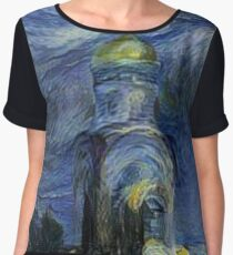 Painting, night, sky, church, stars, galaxies, universe, golden dome Chiffon Top