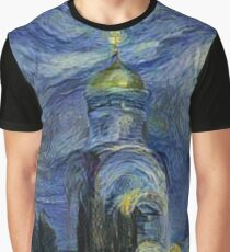 Painting, night, sky, church, stars, galaxies, universe, golden dome Graphic T-Shirt
