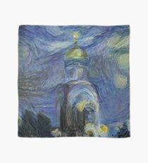 Painting, night, sky, church, stars, galaxies, universe, golden dome Scarf