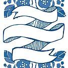 Blue Floral Banner by LindaTieuArt