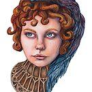«chica de ojos azules con cuervo» de Galbrin
