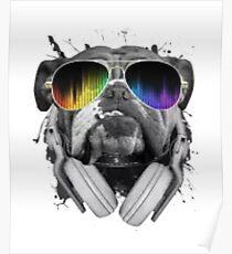 DJ Bulldog Funny Dog Poster