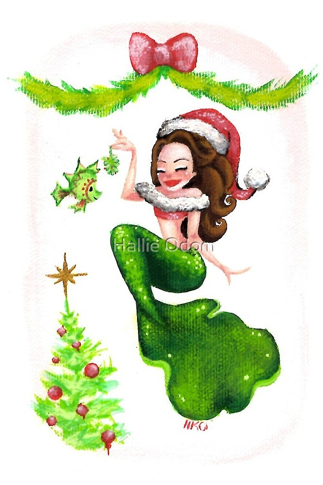 Christmas Mermaid under the Mistletoe with a Fish and a Christmas Tree by Hallie Odom