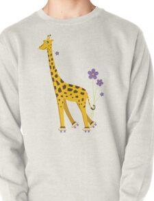 Yellow Cartoon Funny Giraffe Roller Skating T-Shirt