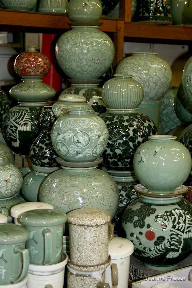 Finished Celadon Pottery by Jeanne Frasse