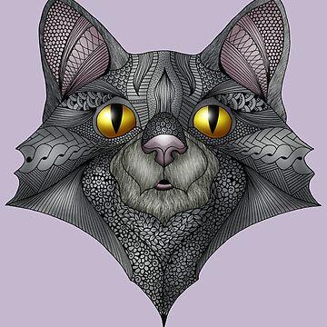 Grey Cat Face by MagicMama