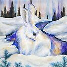 New - White Rabbit Winter Landscape by Allise Noble