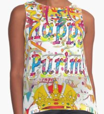 Happy Purim, happy, Purim, blessed, blest, blissful, blithe, cheerful, visual arts Contrast Tank