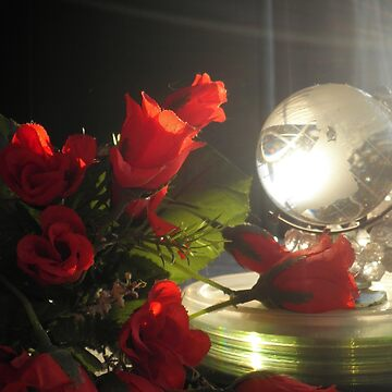 Red rose and crystal globe by Nandika-Dutt