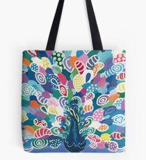 Rainbow Peacock Tote Bag
