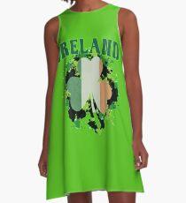 Ireland Flag Shamrock A-Line Dress