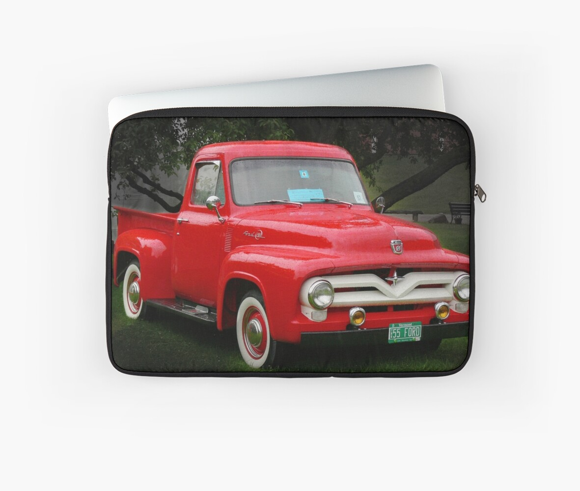 1955 Ford F100 Pick Up Laptop Sleeves By Photosbyhealy Redbubble Rear Bumper