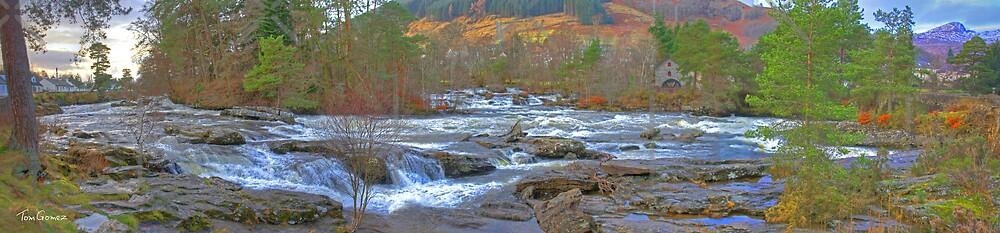 Falls of Dochart Panorama by Tom Gomez