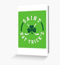 St. Patrick's Day Hockey Saint Hat Trick's Day Greeting Card