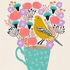 Bird and Flowers - Warbler by Andrea Lauren by Andrea Lauren