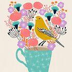 Vogel und Blumen - Wobbelton von Andrea Lauren von Andrea Lauren