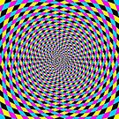 Colorful vortex spiral - hypnotic CMYK background, optical illusion by znamenski