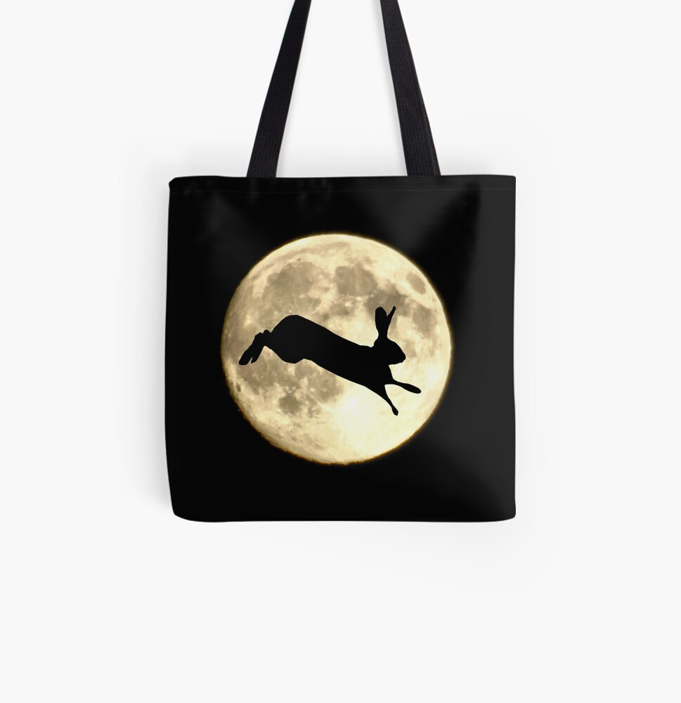Hare and Moon All Over Print Tote Bag