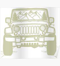 Póster Jeep Adventure (verde claro)
