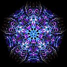 .Psychedelic Trippy Hexagon Star Indigo Mandala - Fractal Sacred Geometry by Leah McNeir