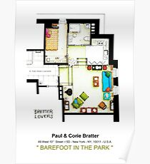 """Floorplan of the apt from """"Barefoot in the Park"""" Poster"""