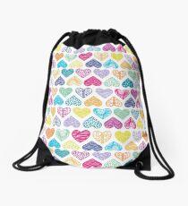 Rainbow Wild Hearts Drawstring Bag