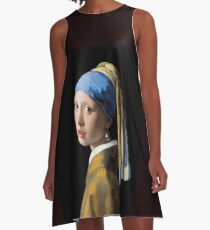 VERMEER : Vintage 1700 Girl With A Pearl Earring Painting Print A-Line Dress