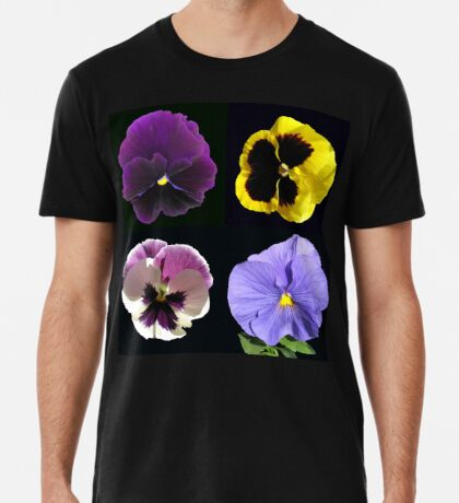 Stiefmütterchen-Collage - schwarzer Hintergrund Premium T-Shirt