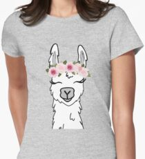 Floral Crown Llama Women's Fitted T-Shirt